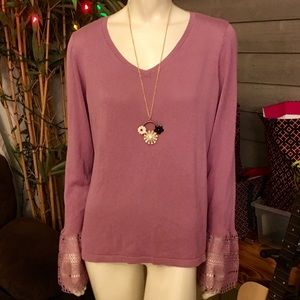 Hannah Crocheted Sleeve Mauve V-Neck Tunic XL